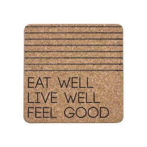 Panonderzetter - kurk 200x200x12mm - Eat Well zwart