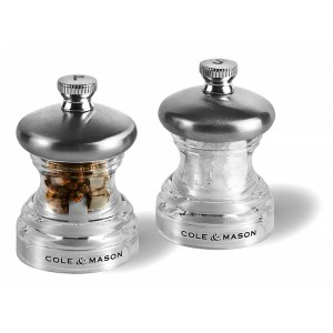 Duo set peper en zout 65mm - P03 Clear Chrome