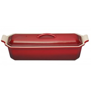 Terrine rechth. 280mm met pers - 1,1l - KERSENROOD